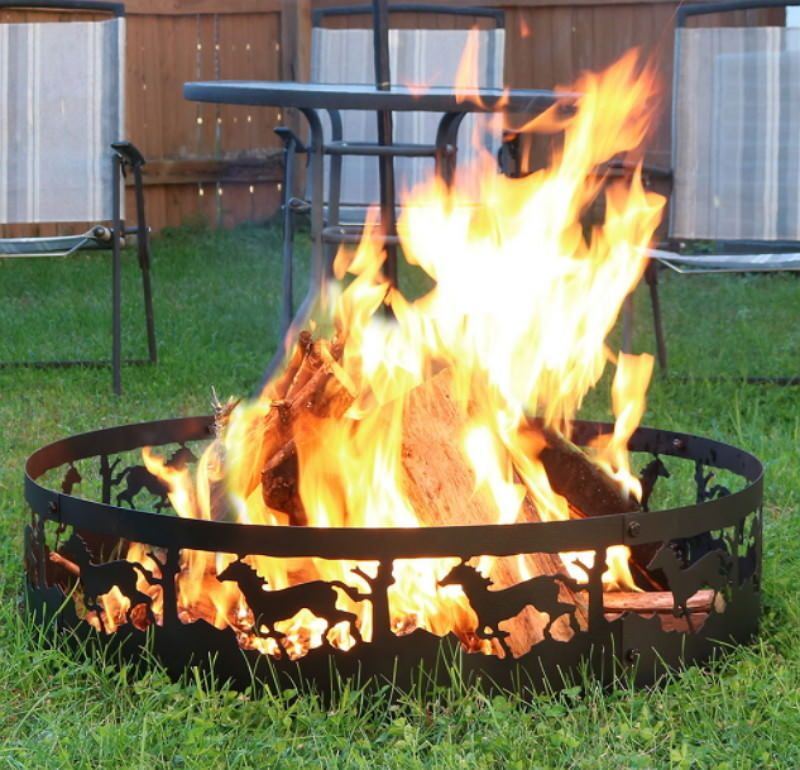 Details About Durable Steel 36 Inch Running Horse Weather Resistant Campfire Ring With Images Fire Ring Campfire Ring Outdoor Fire Pit