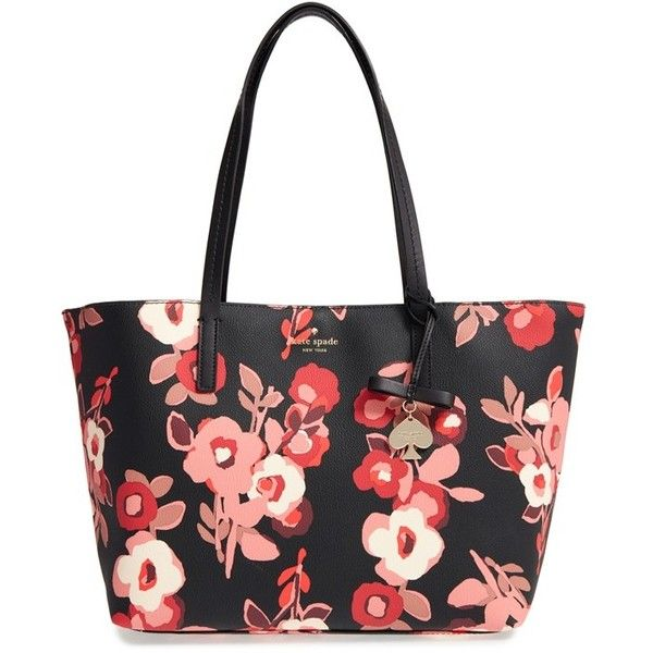 Women's Kate Spade New York Hawthorne Lane - Floral Ryan Tote ($198) ❤ liked on Polyvore featuring bags, handbags, tote bags, black multi, structured tote bag, floral tote, kate spade purses, handbags totes and structured tote