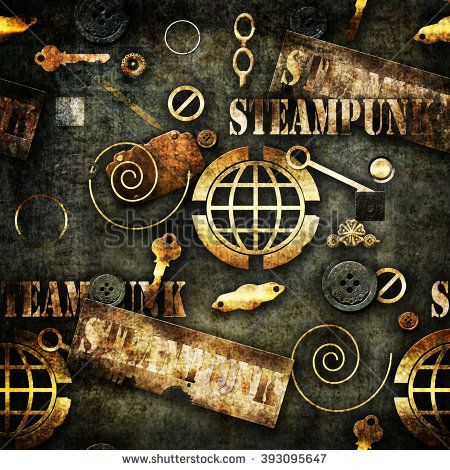 Abstract mechanical elements steampunk grunge background illustration   - stock photo