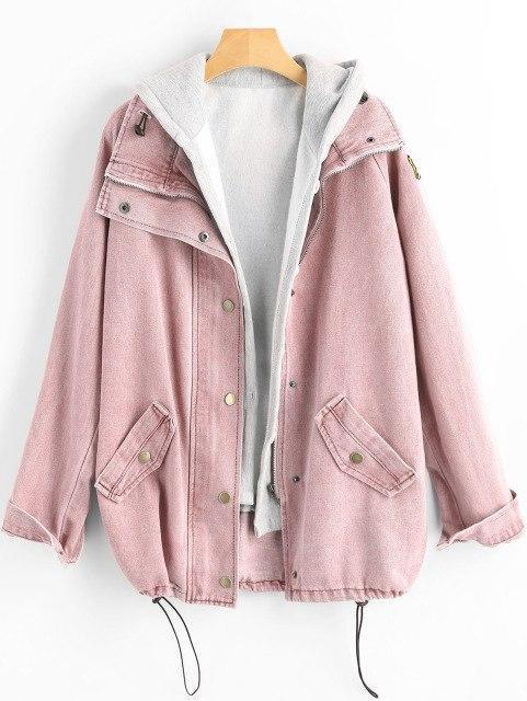 Wipalo Button Up Denim Jacket With Hooded 2 Piece 3XL Jean Plus Size Autumn Women Coat 2018 Fashion Streetwear Veste Femme