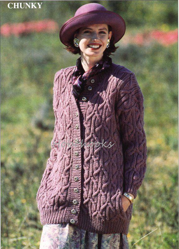 womens cable long length cardigan knitting pattern pdf ...