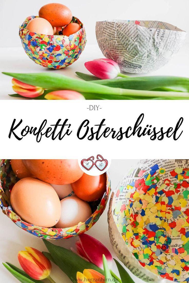Osterkalender Türchen 20- Pappmaché Konfetti Osterschüssel