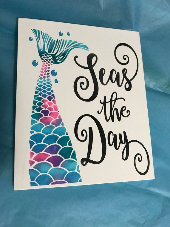 Seas the Day/Mermaid Sign/ Painted Sign/Beach Theme/Home Decor #mermaidsign