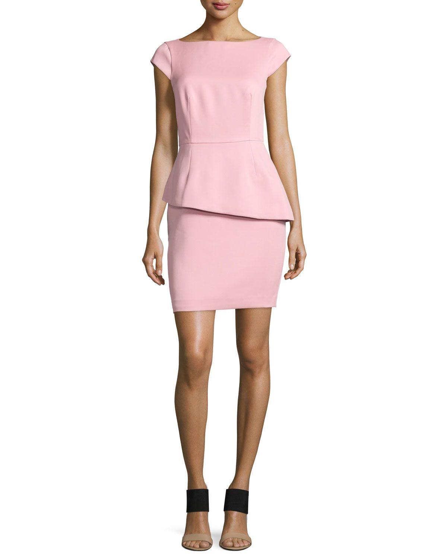e4e12207d373 Cap-Sleeve Peplum Cocktail Dress