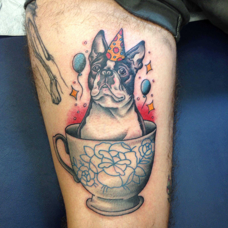 Boston terrier tattoo Done by Shannon Reed / Norfolk, VA / Instagram : shannonreedtattoo