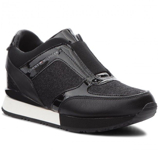 a4cd13681 Sneakersy TOMMY HILFIGER - Elastic Wedge Sneaker FW0FW03553 Black ...