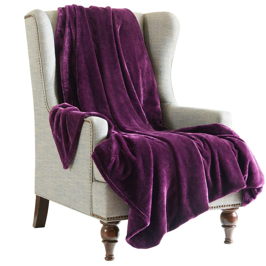 Purple Flannel Throw Blanket For Sofa Size 200x240 Cm
