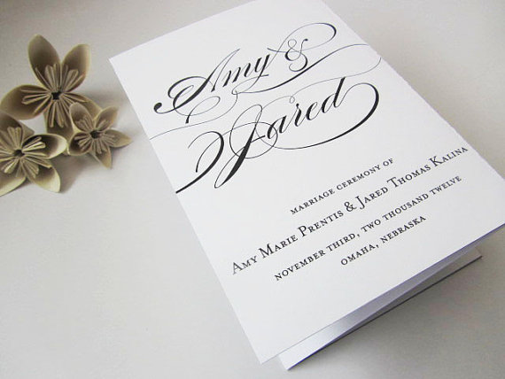 wedding ceremony program personalized tri fold wedding program