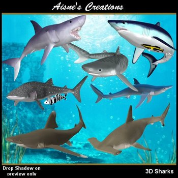 3D Sharks Graphics Pack $3.00