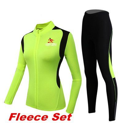 Women's Winter Cycling Set Long Sleeve Thermal Fleece Cycling Jersey MTB Cycle Clothing Bike Clothes Bicycle Cycling Woman Kit