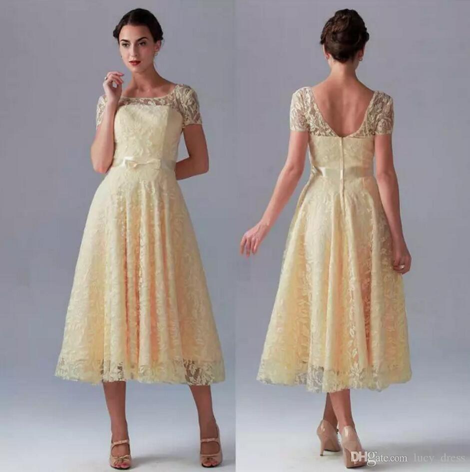 Hot sale yellow bridesmaid dresses short pretty new lace sheer crew