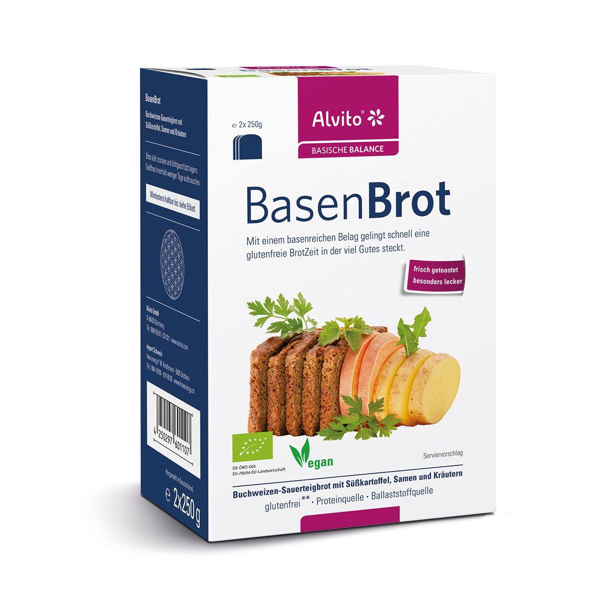 Alvito BasenBrot 500g - Mit einem basenreichen Belag gelingt schnell eine glutenfreie Brotzeit in der viel Gutes steckt. Das Grundrezept für dieses Brot basiert auf langjähriger Erfahrung und Freude an bewusster Ernährung.