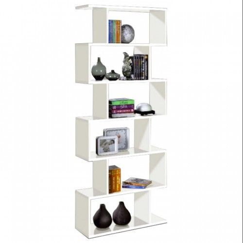 White Wood Bookcase Storage Shelving Display Unit Book Shelf Tall