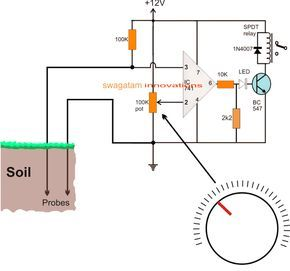 A Very Simple Mud Or Soil Moisture Tester Circuit Can Be Built By Using A Single Opamp And A Few Passive Comp Circuit Projects Electronic Circuit Projects Soil