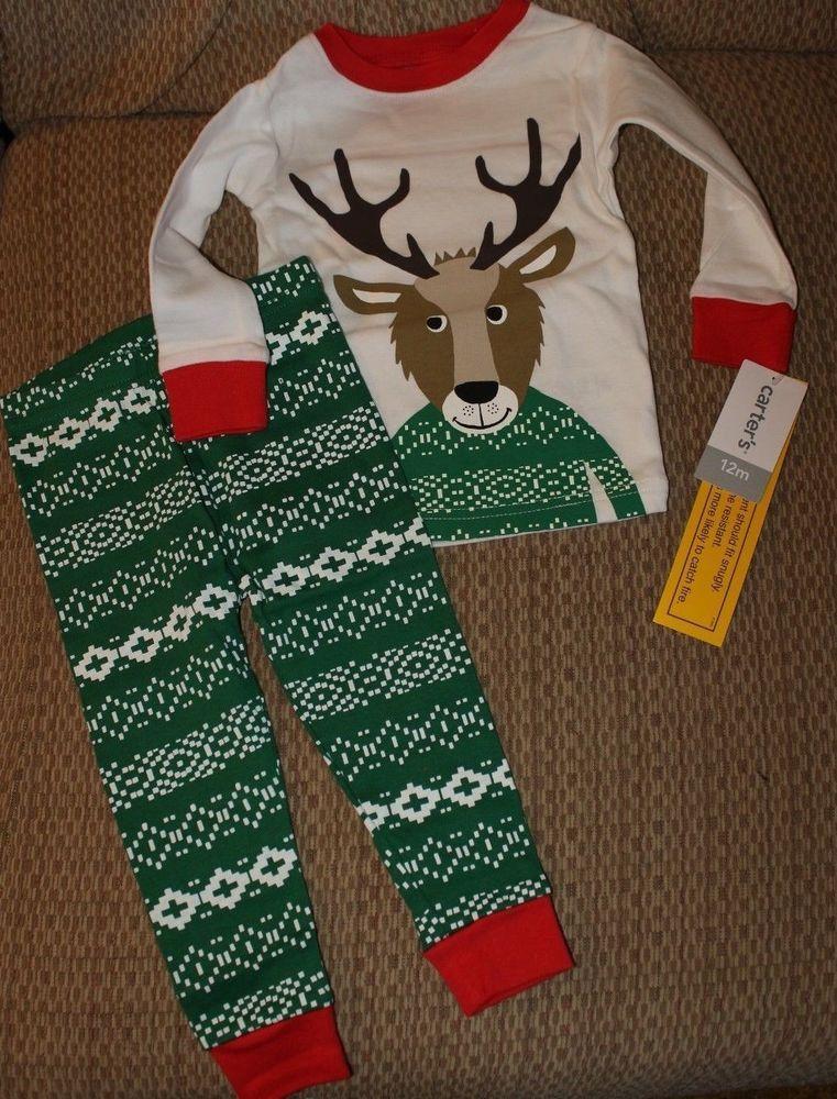 951ce4867 NWT Boys 12 months Deer Reindeer Christmas holiday 2 piece Pajamas ...