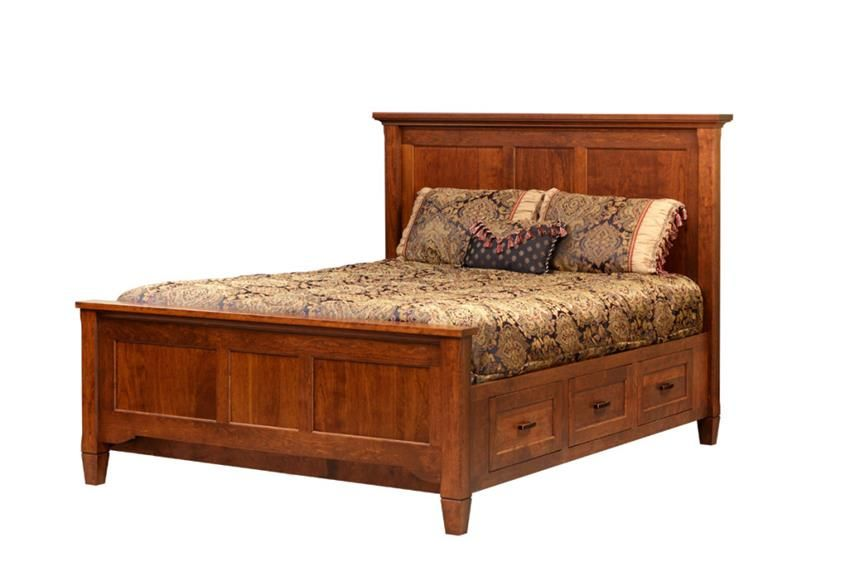 Amish Lexington Bed With Drawer Rails Solid Wood Platform Beds