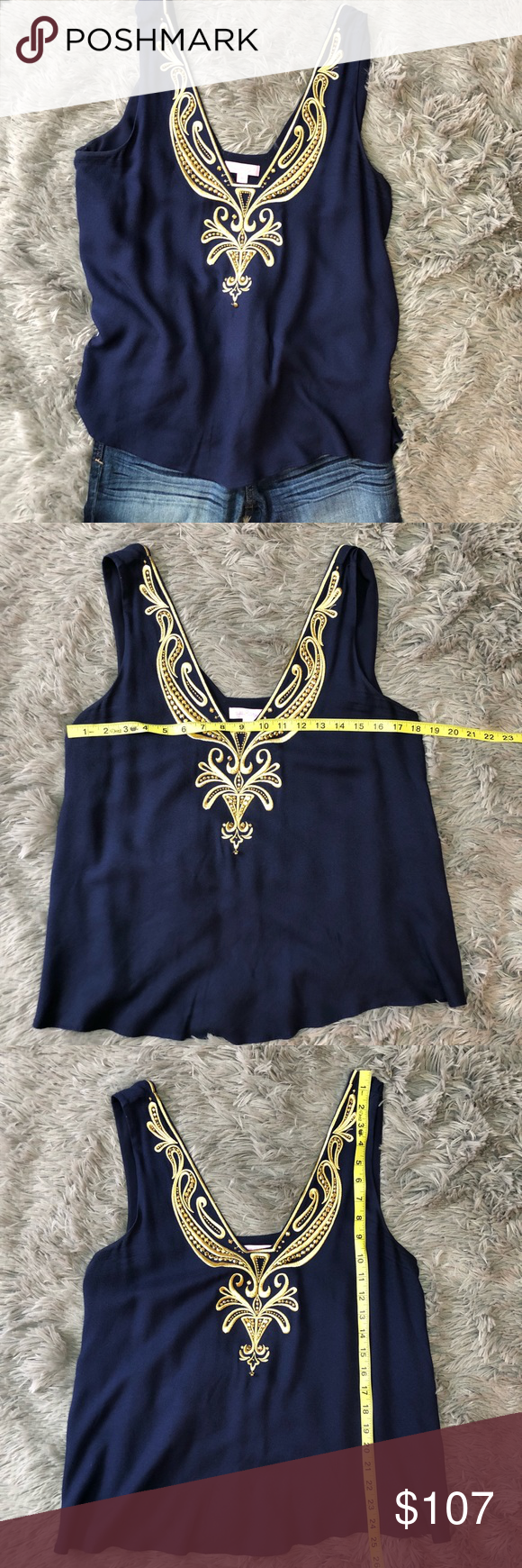 Lilly Pulitzer   Owen Sleeveless Shirt Lilly Pulitzer Owen Top in Navy with gold detail This top is...