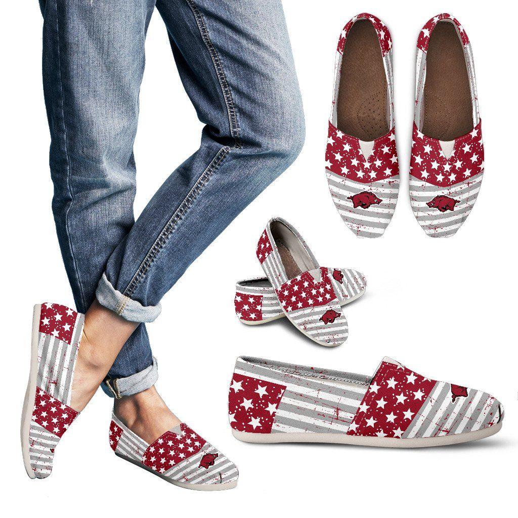 Star Stripers America Flag Arkansas Razorbacks Women Casual Shoes ...