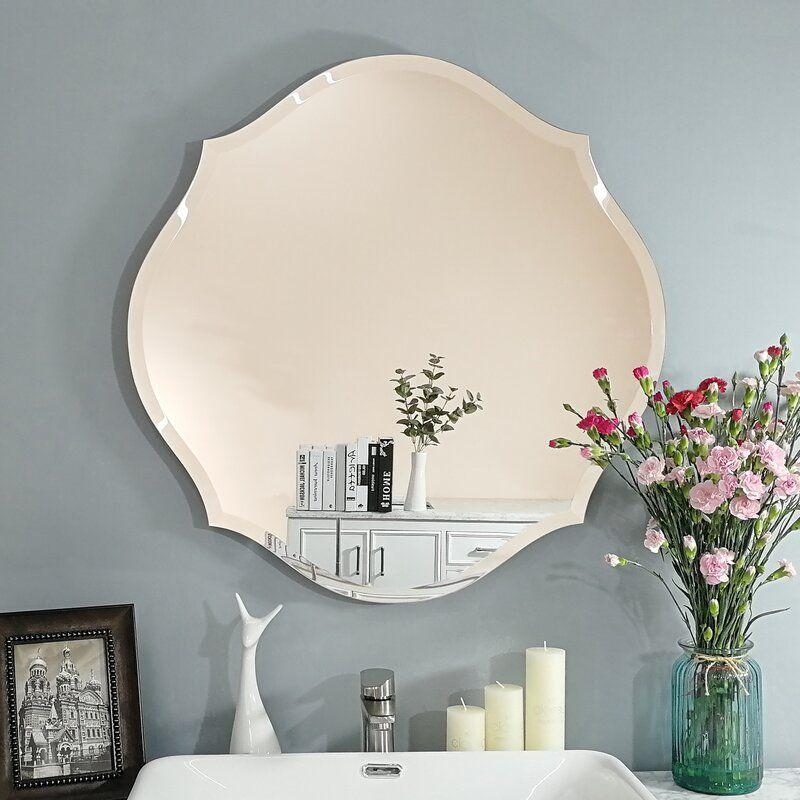 Sheri Beveled Venetian Frameless Bathroom Mirror Elegant Mirrors Round Mirror Bathroom Beveled Mirror Bathroom