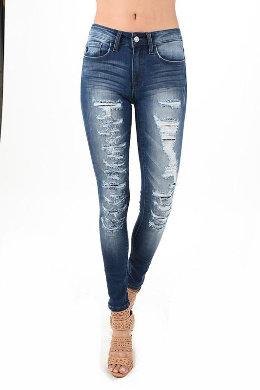 f970c9eacefc Kan Can super distressed ankle jeans. Fully lined with black stretch fabric  behind all the rips. Get the ripped look without showing all that skin.