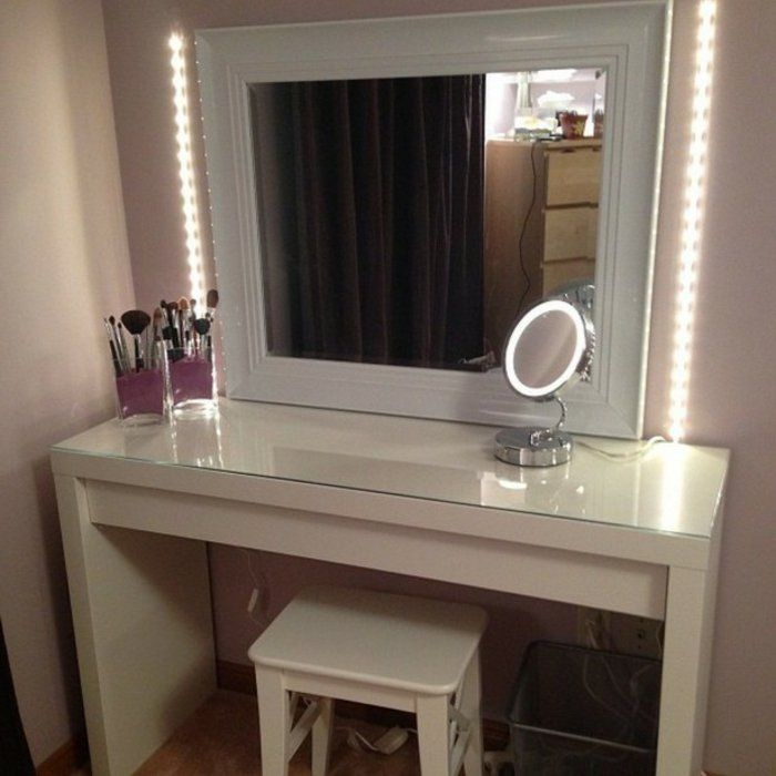 cheap vanity desk with mirror. Vanity area with two seats sockets for staff  Women the opportunity to use showers at office then dry hair etc Pinterest