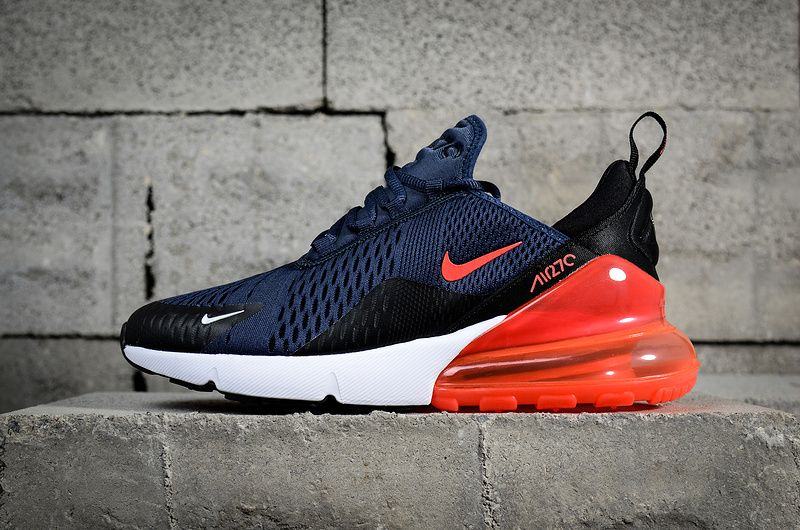 cheap for discount 81b01 7620e 2018 Popular Nike Air Max 270 Dark Blue Red Black Noir White blanc AH8050-401  Youth Big Boys Shoes