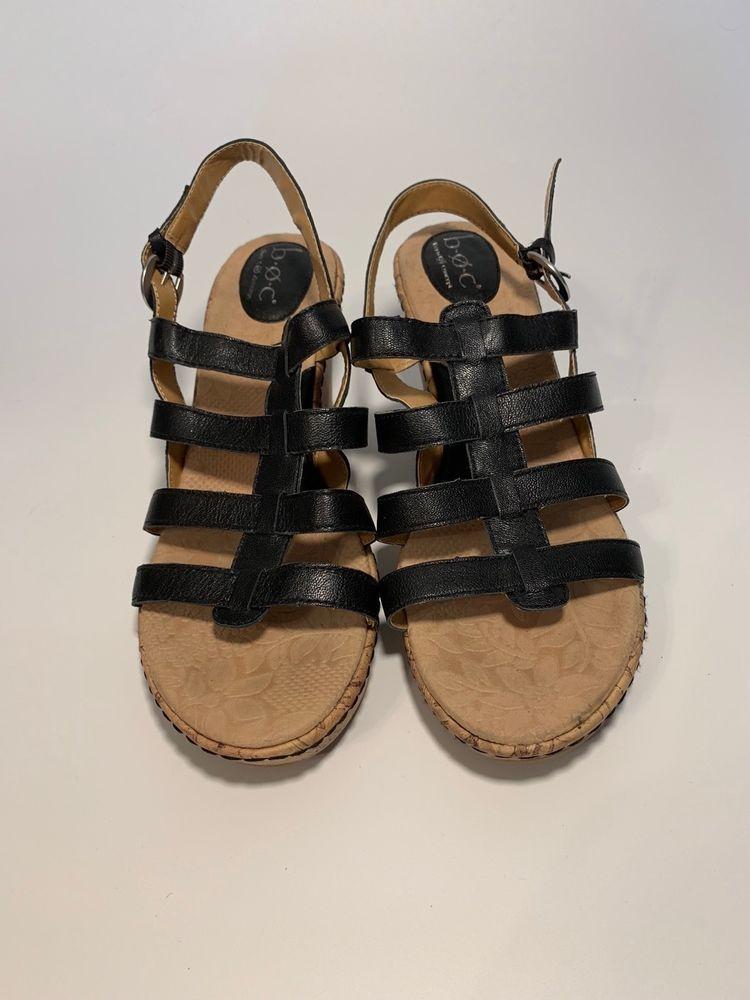 9e463af6af Born BOC Black With Cork Platform Sandal Women's Size 11   eBay   My ...