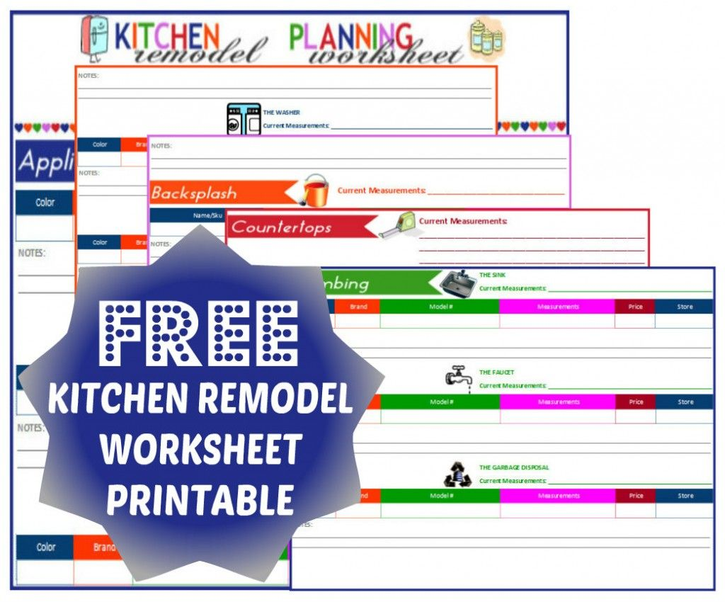 Free Kitchen Remodel Worksheet Printable Image