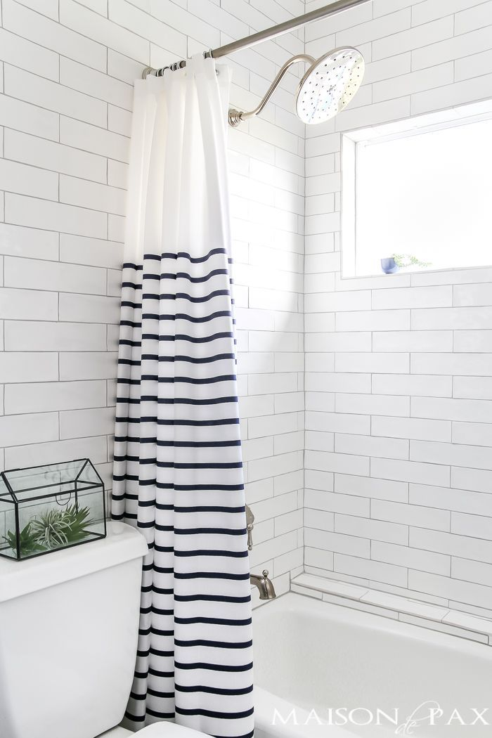 Navy and white bathroom with brass wood accents find out where to affordable sources for  remodel like this also trendy shower curtains that will have you wanting update your rh pinterest