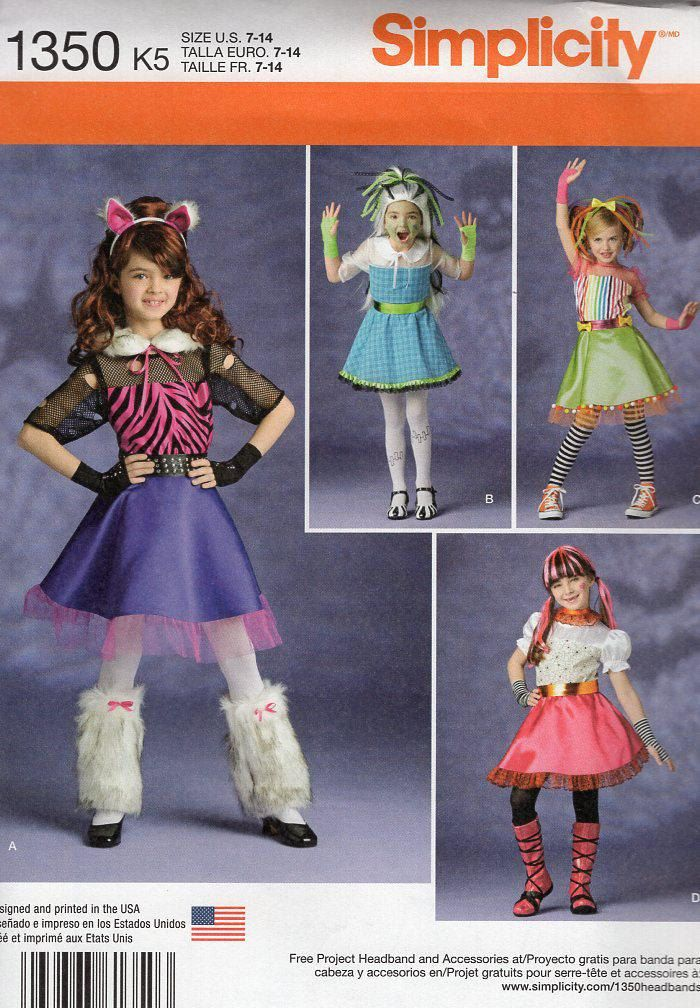 FREE US SHIP Sewing Pattern Simplicity 1350 Girls Monster High ...