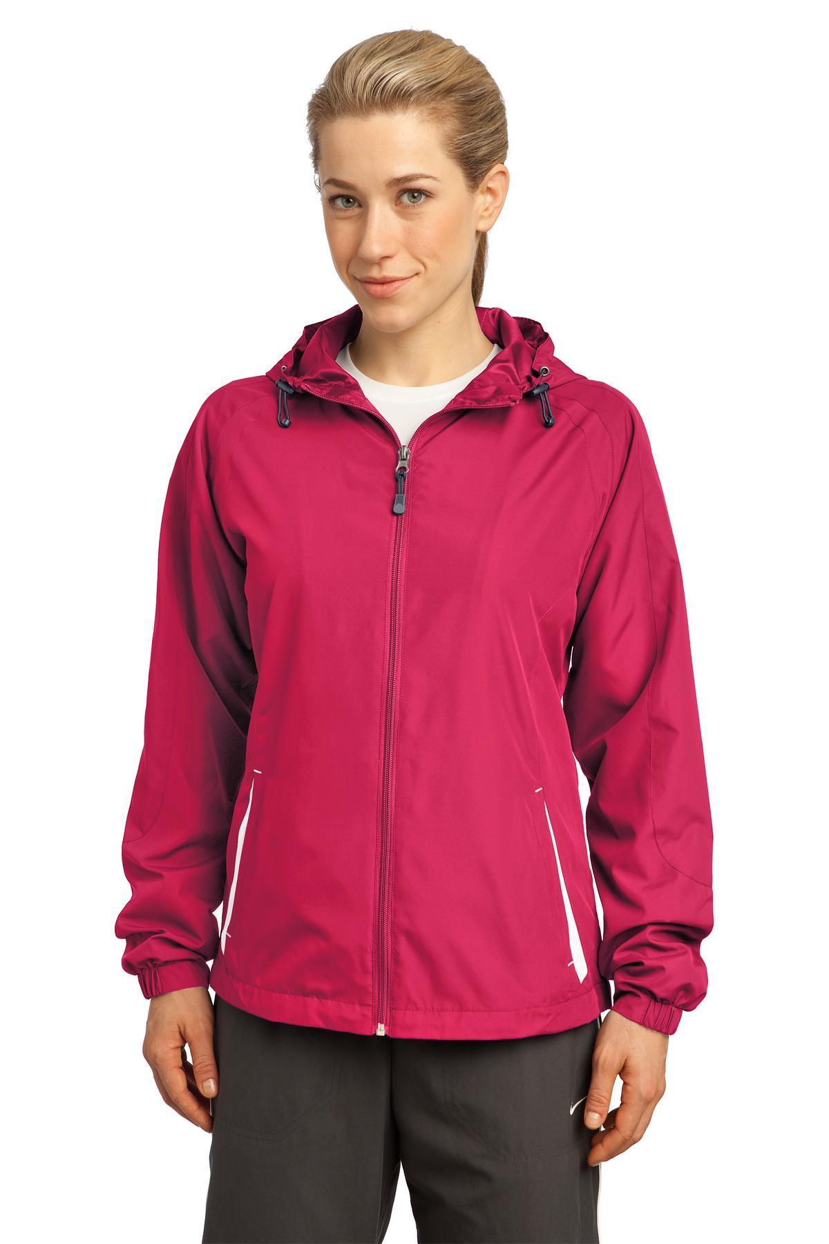 7901a812d Sport-Tek Ladies Colorblock Hooded Raglan Jacket LST76 Pink Raspberry/White