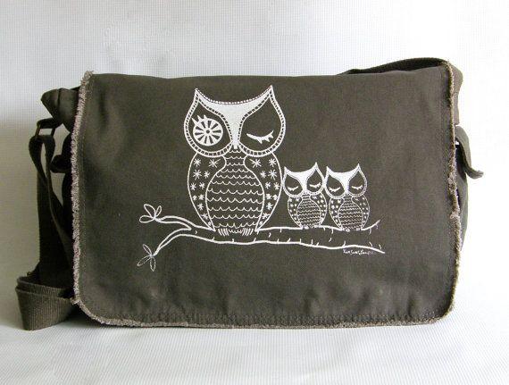 Owl Messenger Bag Hand Screen Printed Cotton Canvas-Khaki Green-Gift for Her-Under 40 Dollars @SammyBear Bandli