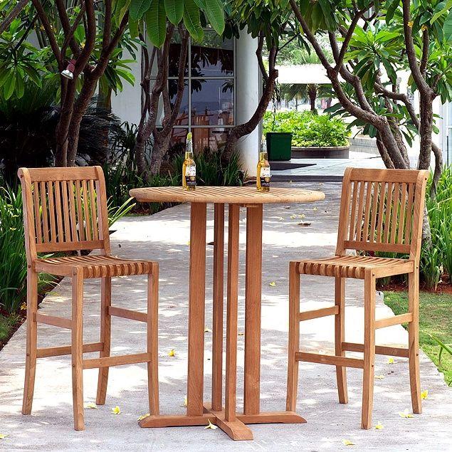 Teak Bar Height Pc Bistro Set Porches Pinterest Bistro Set - Teak bar height outdoor table