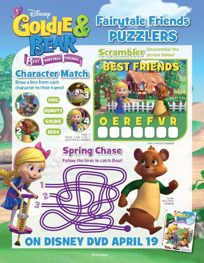 Disney Junior Goldie And Bear Coloring Pages Activity Sheets Bear Coloring Pages Friend Activities Disney Junior