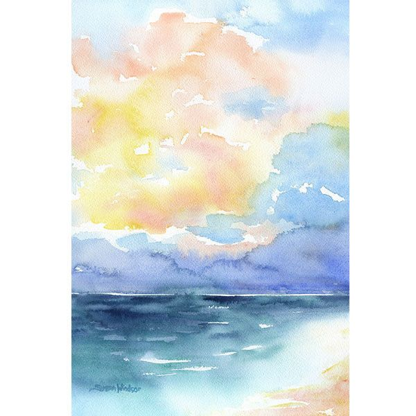 Abstract Beach Watercolor Seascape Painting Watercolor Sky