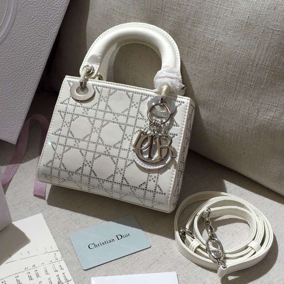 3d6a0b9e8d5 Dior Mini Lady Dior Bag with Crystal Embellishments White | Bag it ...