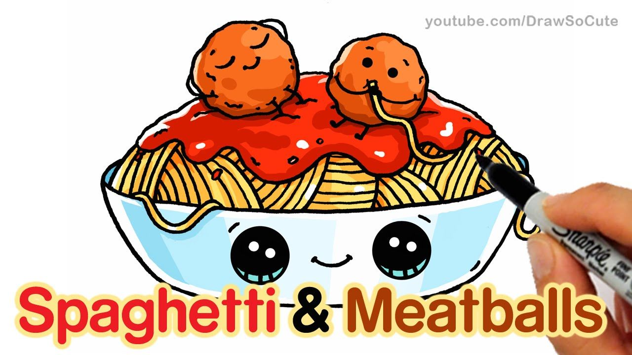 How To Draw Spaghetti And Meatballs Step By Step Easy Fun Food With Faces Cute Food Drawings Draw So Cute Food Cute Kawaii Drawings