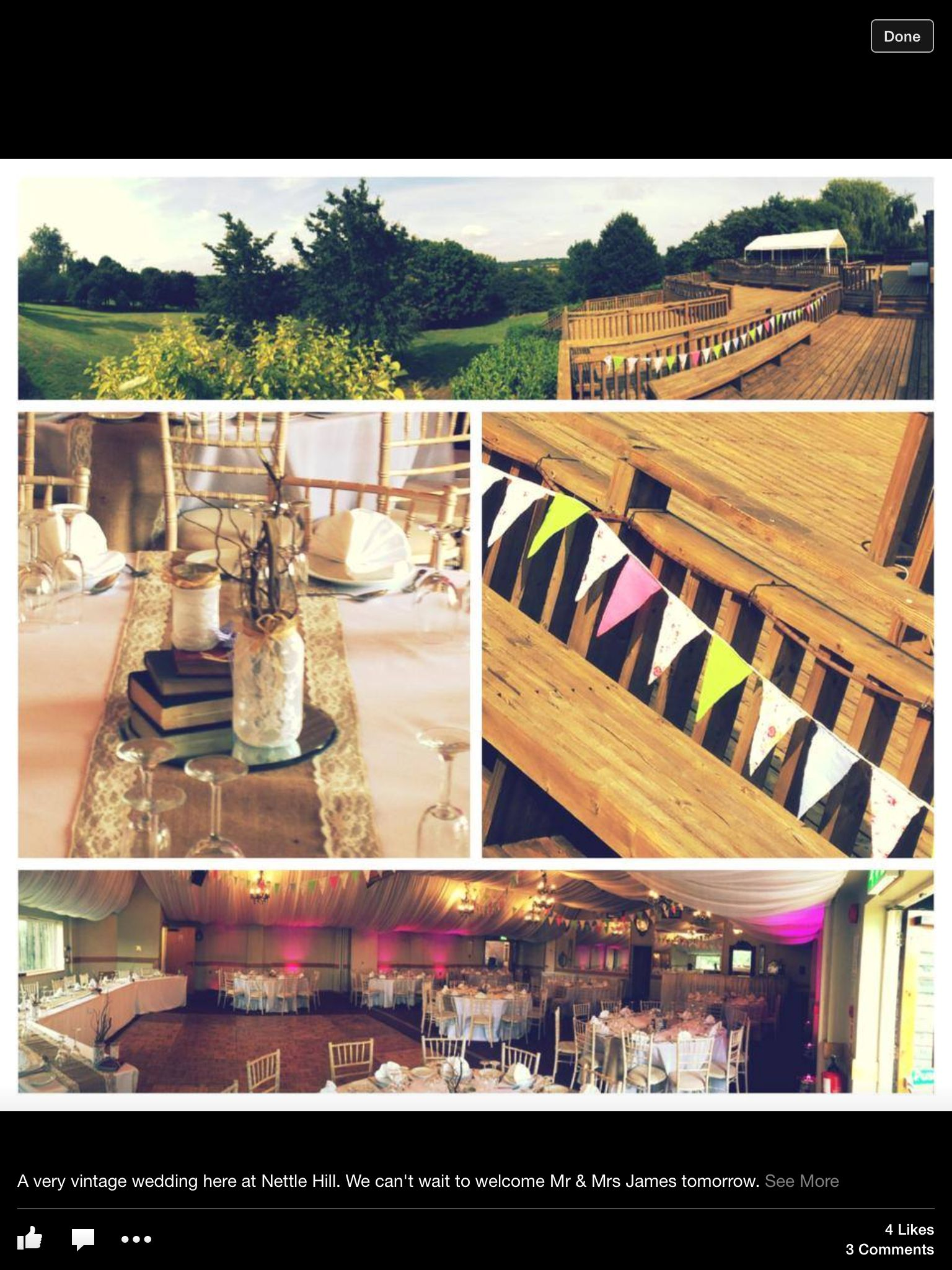 Shabby cheque wedding with French chairs