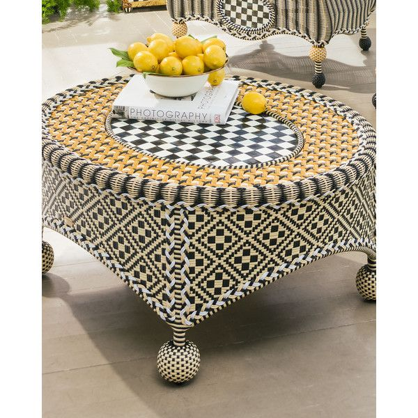 Mackenzie-Childs Courtyard Outdoor Coffee Table ($895) ❤ liked on Polyvore featuring home, outdoors, patio furniture, outdoor tables, outdoor garden furniture, outside patio furniture, oval coffee table, outdoors patio furniture and outdoor table