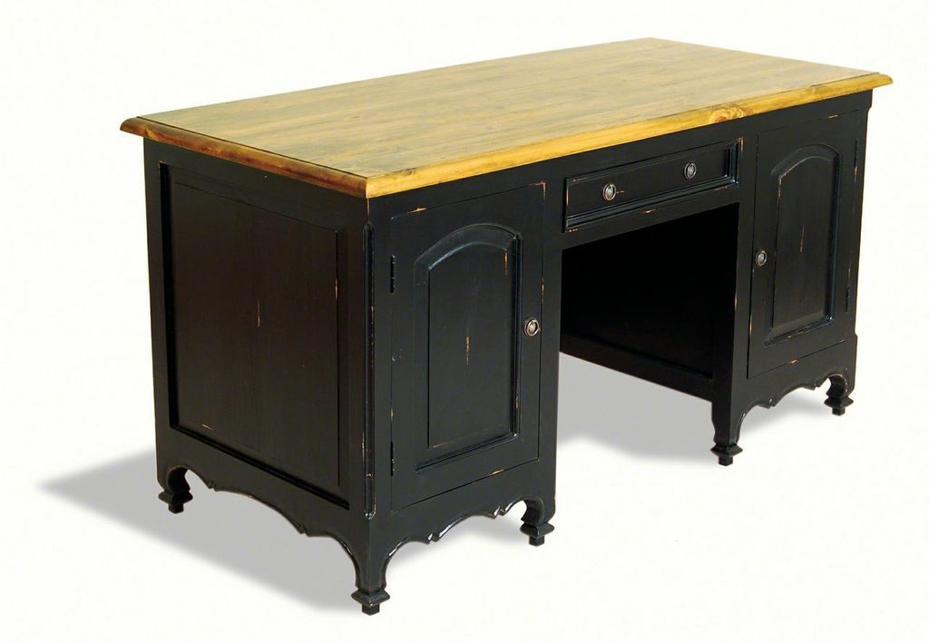 Gentil Painting Pine Furniture Black | Painted Pine Shabby Chic Double Pedestal  Pine Writing Desk
