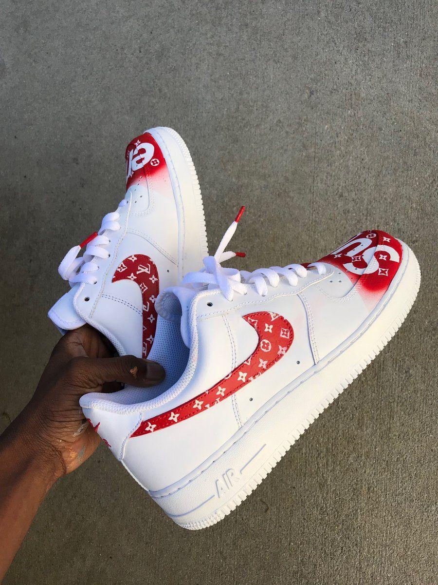 Image of Supreme x LV custom AF1 Nike air shoes, Custom