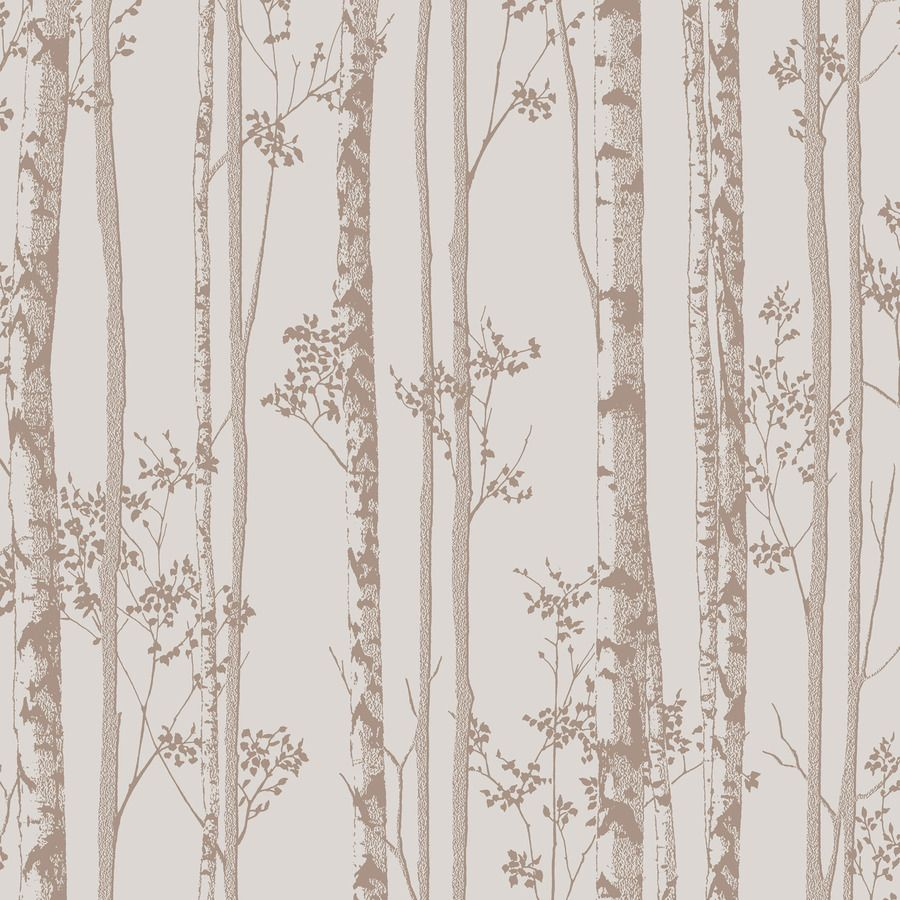 Graham & Brown Pure Pebble and Rose Gold Paper Textured Floral Wallpaper