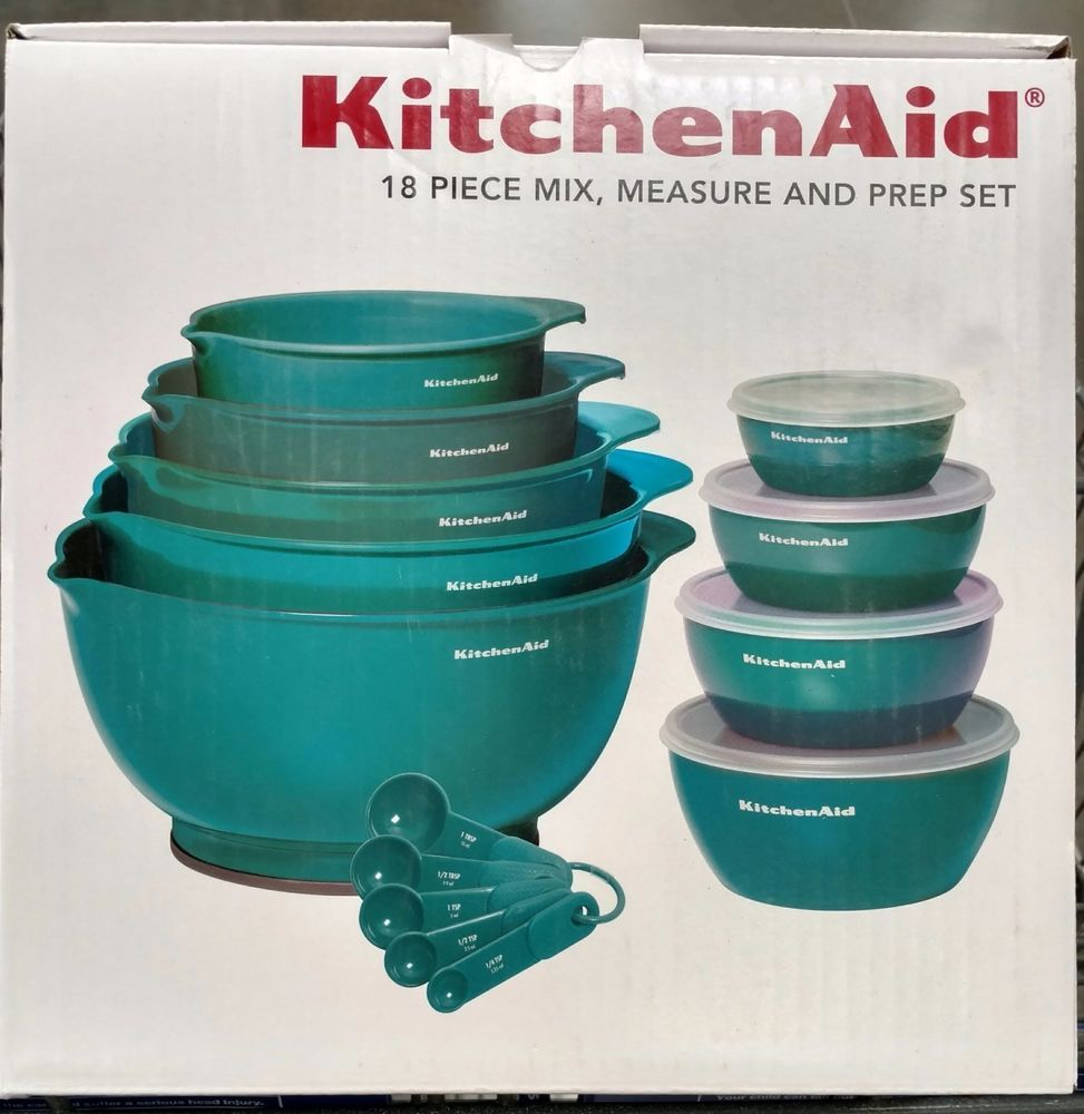 Kitchen aid turquoise blue prep bowl set with measuring