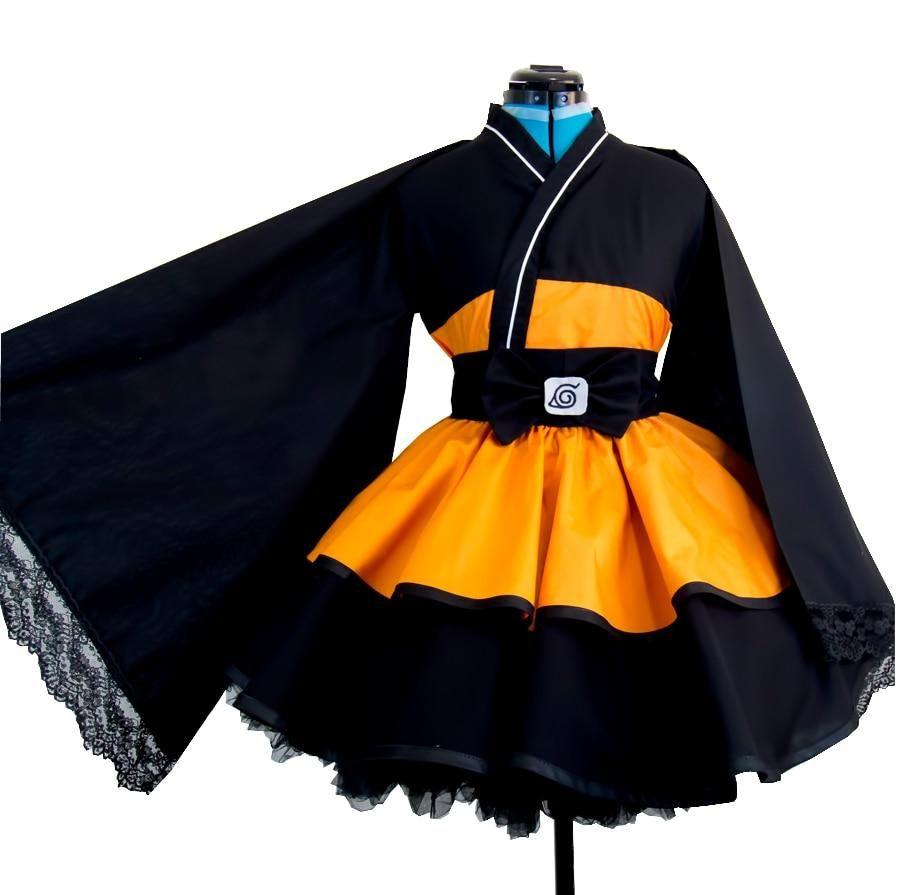 Photo of JP AnimeNaruto Shippuden Uzumaki Naruto cosplay costumes Lolita Kimono cosplay Costume Halloween Dress – S