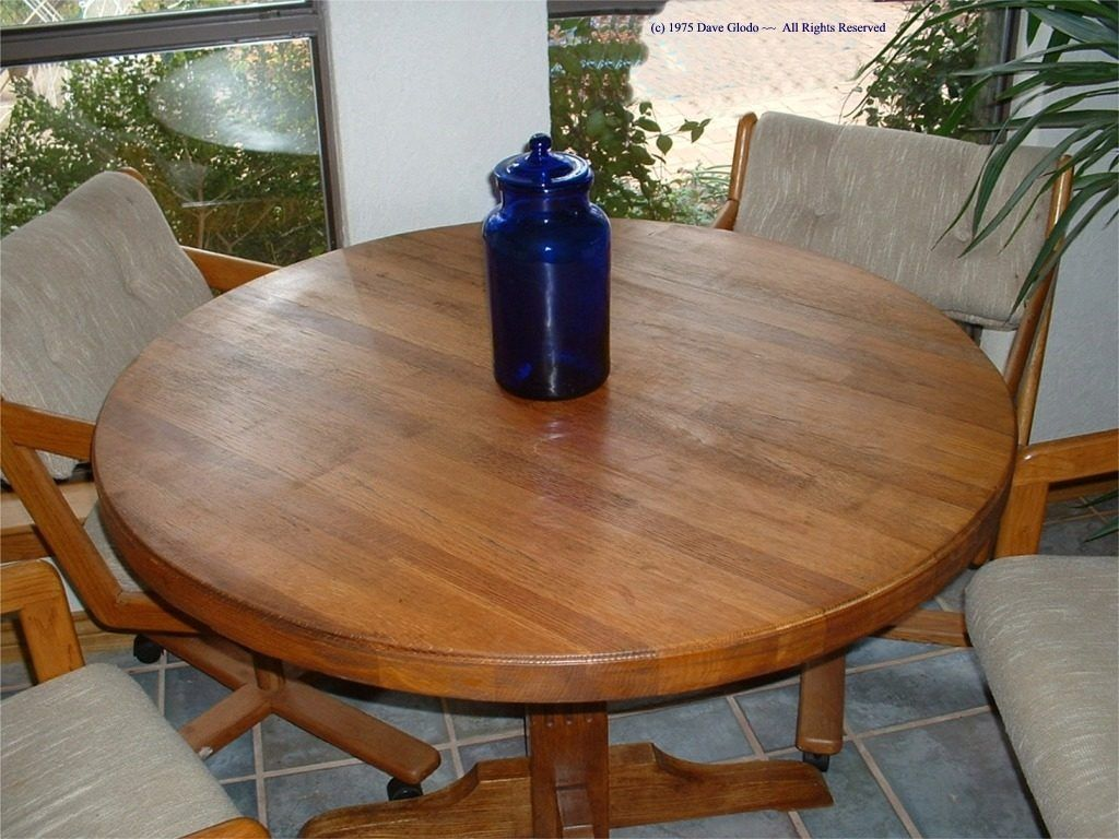 Butcher Block Kitchen Table Round   Round dining table ...