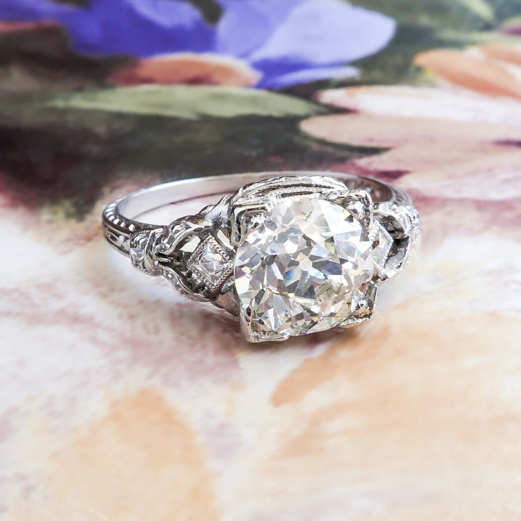 Antique Edwardian 1.82ct t.w. Diamond Engagement Ring Circa 1923-1925 Old European Cut Diamond French Cut Hand Engraved Platinum Ring by YourJewelryFinder on Etsy https://www.etsy.com/listing/526178686/antique-edwardian-182ct-tw-diamond