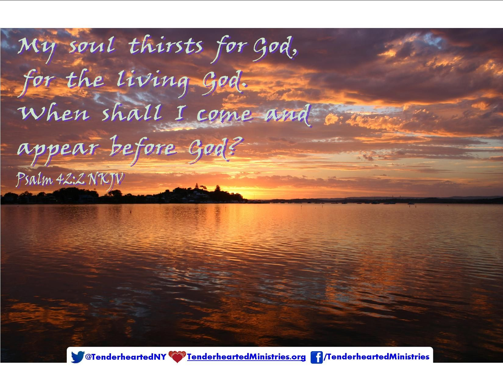 My soul thirsts for God, for the living God, when shall I come and appear before God?  Psalm 42:2 NKJV