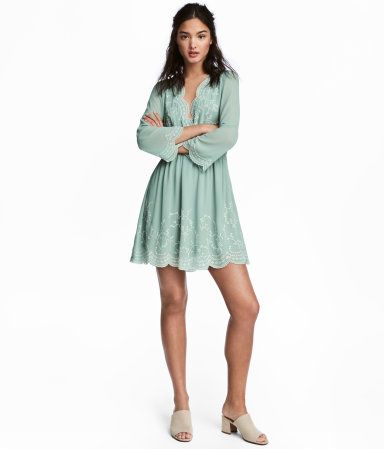 Embroidered Dress   Dusky green   Women   H&M US