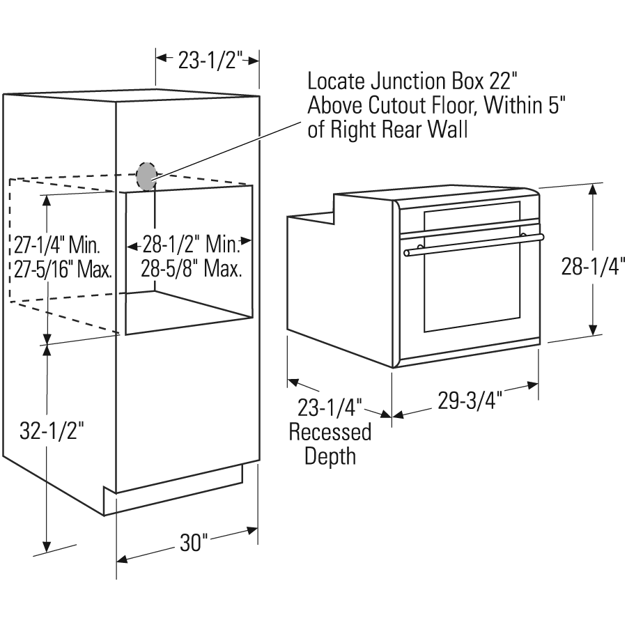 Wall Oven Dimensional Diagram Oven Cabinet Single Wall Oven