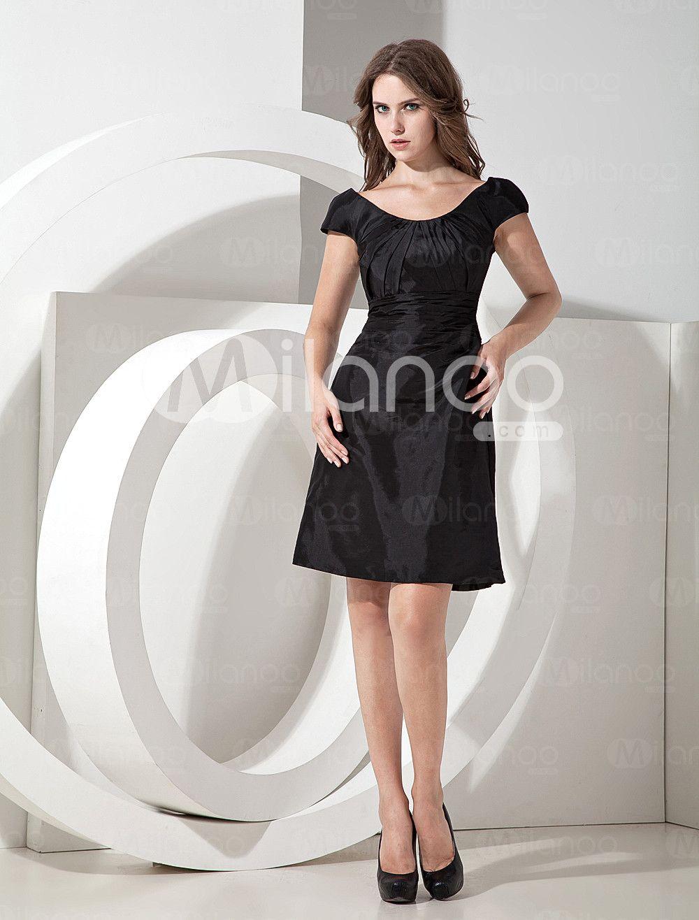 Black taffeta knee length bridesmaid dress milanoo shlebbing